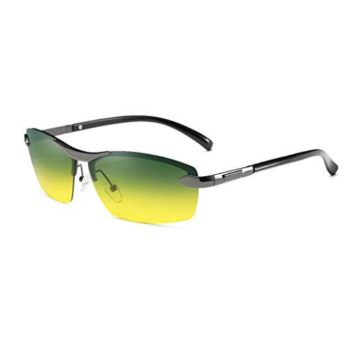 Polarisierte Sportsonnenbrille für Herren Damen Sportbrillen Fahrsonnenbrille Rahmenlos Dual-Use Tag und Nacht Fit Jugend Allmählich Gelb (Color : Gray Frame) -