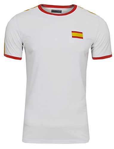 JACK & JONES WM 2018 WC Weltmeisterschaft Herren Retro Fan T-Shirt Trikot (S, Spanien (White Spain) (Jones Weißes Trikot)