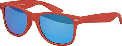 Balinco Hochwertige Nerd Sonnenbrille Rubber im Wayfarer Stil Retro Vintage Unisex Brille mit Federscharnier - 96 verschiedene Farben/Modelle wählbar (Dunkelrot - Blau verspiegelt)