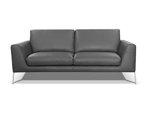 Alkove, divano in pelle modello kutina, stile moderno, 3 posti, colore grigio chiaro