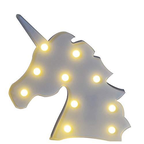 Missley Unicorn Tête LED Nuit Lampe Décorative Lumière pour Fête D'anniversaire et Cadeaux Décoration Murale (Licorne-tête-blanc)