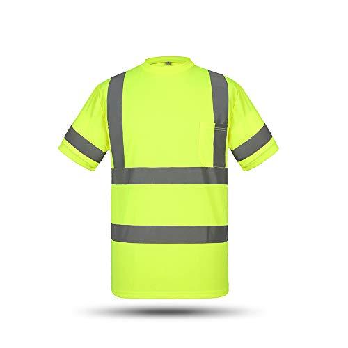Festnight Reflektierende Arbeitshorts Sicherheitsarbeits-T-Shirts Hohe Sichtbarkeit Atmungsaktiv Leichte Arbeitskleidung -