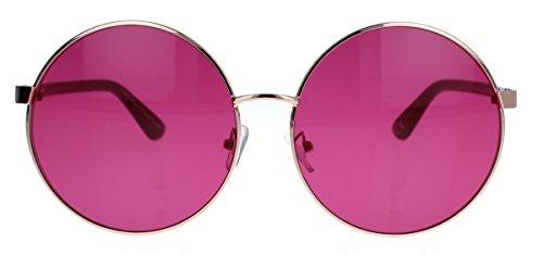 Große Damen Retro Sonnenbrille 60er 70er Jahre Hippie Style rund oversized Lennon LX40 (Cassis)