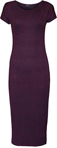 WearAll - Damen Kurzarm Figurbetontes Midi-Kleid - 7 Farben - Größen 36-42 Violett