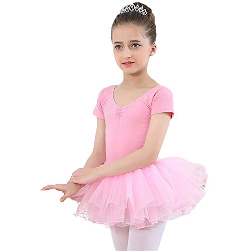 Zum Kostüm Ballett Verkauf - Kinder tanzen Kostüme Baby Mädchen Kurzarm Baumwolle Balletttanz Tanktop Trikot mit Rock Professionelle Rüschen Tüll Tutu Skirted Trikot Kinder Tanzkleidung Kostüme Performance Training Dress Kleid-Tr