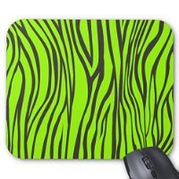 Zebra Print - Black and Neon Green Animal Pattern Decorative Mouse Pad Office Design Gaming Mouse Pad Mat - Green Zebra Animal Print