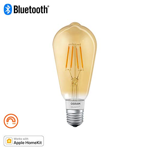 Osram Smart+ Lampadina LED a Filamento Bluetooth, Compatibile con Apple Homekit e Android Forma Edison, E27, 60W Equivalenti, Dimmerabile, Finitura Ambrata