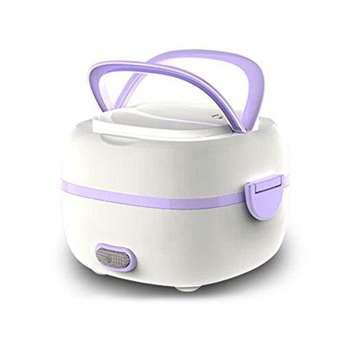 KOBWA Boîte à Lunch électrique multifonctionnelle, Mini cuiseur à Riz, cuiseur à la Vapeur Portable cuvettes en Acier Inoxydable, Support à la Vapeur œufs, cuillère, Tasse à mesurer Bureau