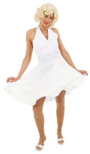 Kleid: Filmstar-Kleid a la Marylin Monroe, weiß, Größen 36 - 54, Erwachsenen-Größe:44