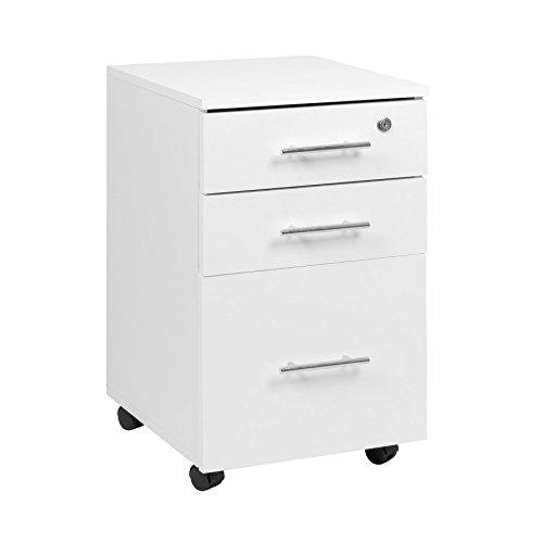 Armario blanco con 3 cajones y cerradura para debajo del escritorio, 40 x 44 x 65 (W x D x H)