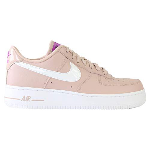 Nike Damen WMNS AIR Force 1 '07 SE Basketballschuh, Stone Mauve/White/Vivid Purple/Lemon Venom, 39 EU