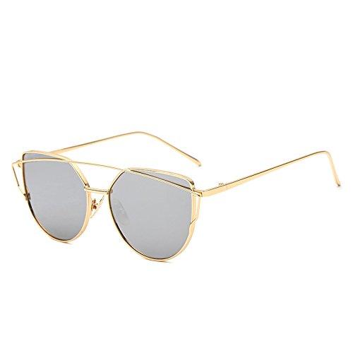 SUNGLASSES Mode-Modelle mit dem gleichen Absatz Sonnenbrillen super leichte Reitbrille Fashion Cat Eye Sonnenbrille (Farbe : Gold Frame White Mercury)