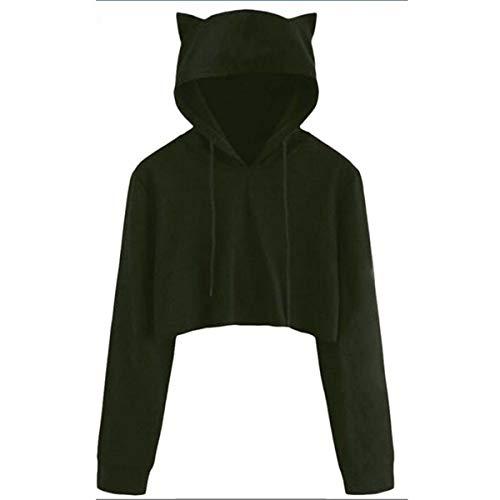 Teen Girls Cute Cat Ear Breathable Trim Sweatshirt Crop Top Long Sleeve Pullover Hoodies Loose Pullover Moletom Army Green XXL (Top Crop Hoodies Cheap)