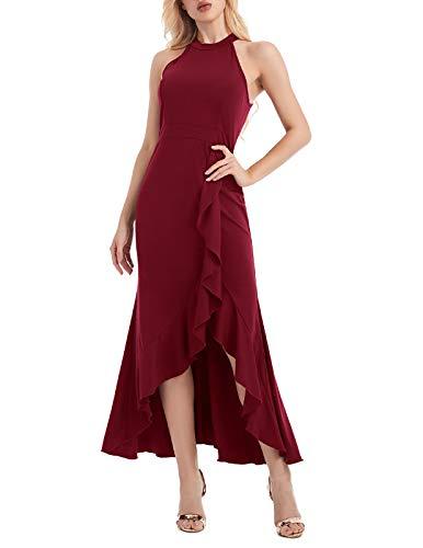 ANGGREK Damen Abendkleider Lang Neckholder Schulterfrei Brautjungfernkleid Eng Ballkleid Elegant Neckholder Abendkleider
