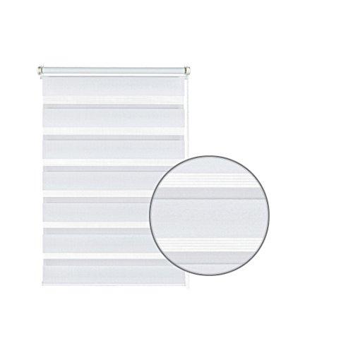 GARDINIA Doppelrollo zum Klemmen oder Kleben, Duo-Rollo/ Seitenzugrollo, Transparente und blickdichte Streifen, Alle Montage-Teile inklusive, Weiß, 90 x 220 cm (BxH) - 2
