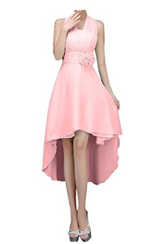 Promgirl House Damen Sommer Neckholder A-Linie Hi-Lo Chiffon Brautjungfernkleider Ballkleider Wadenlang Rosa