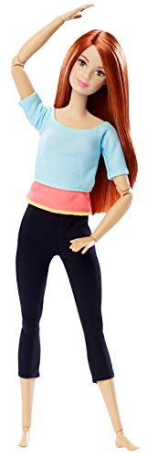 Barbie Fashionista Made to Move, Muñeca articulada top color celeste, juguete +7 años (Mattel DPP74)