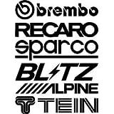 2 Sets (12pcs) Sponsor Racing Stickers Decals Aufkleber Logo Funny Car Window Bumper JDM VW VAG Vinyl Decal Sticker Racing Tuning Drifting