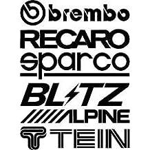 Design&Style - 2 hojas de pegatinas (6 pegatinas por hoja, 12 en total) para automóvil; marcas Brembo, Blitz, Tein, Alpine, Recaro, Sparco