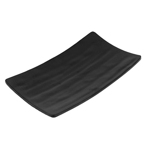 sourcingmap® Table Rectangle en forme de sushi Plaque Plat à servir Noir