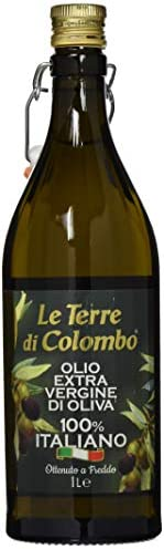 Le Terre di Colombo – 100% Italian Extra Virgin Olive Oil, Ribbed Bottle with Mechanical Cap, 1 L