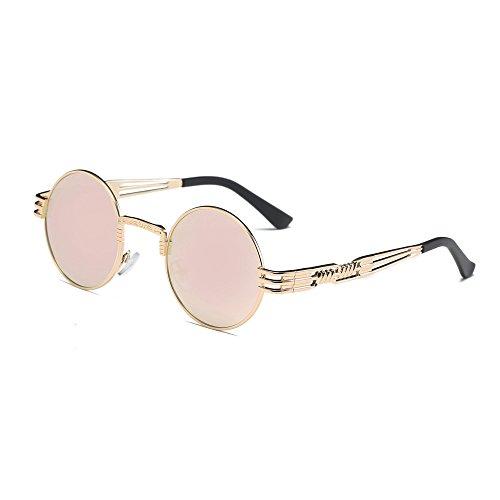 Xshuai Neue stilvolle Frauen Retro runde Gläser Unisex Anti-UV Mode Aviator Spiegel Objektiv Reise Sonnenbrille (A/B/C/D/E/F/G/H/I/J/K ) (G)