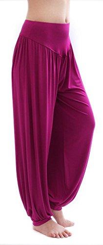 HOEREV Brand Morbida Marcamodale Spandex Pantaloni Harem Yoga / Pilates Viola Rosso