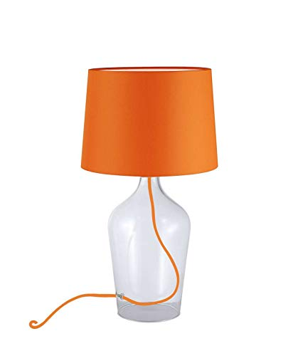 Lampe de table avec abat-jour en tissu orange - Lampe décorative (lampe de table, hauteur 44 cm, vase, douille E27