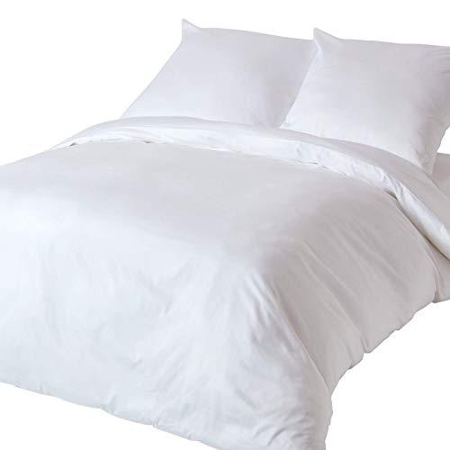 Homescapes 2-teiliges Bettwäsche-Set - 100% Bio-Baumwolle, Fadendichte 400 Perkal - Bettbezug 155 x 220 cm mit Kissenbezug 80 x 80 cm - weiß -