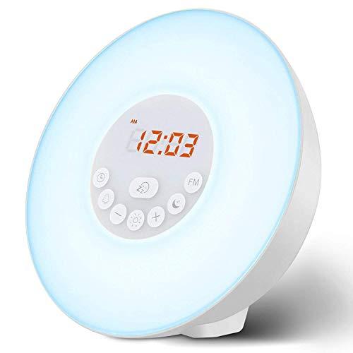 Fitford Wecker, Aufwachlicht, Sonnenlicht/Sonnenuntergang, Nachttisch-Lampe, Augenschutz [Neue Generation] mit FM-Radio, Naturgeräusche und Touch-Control-Funktion (Weiß), Grün