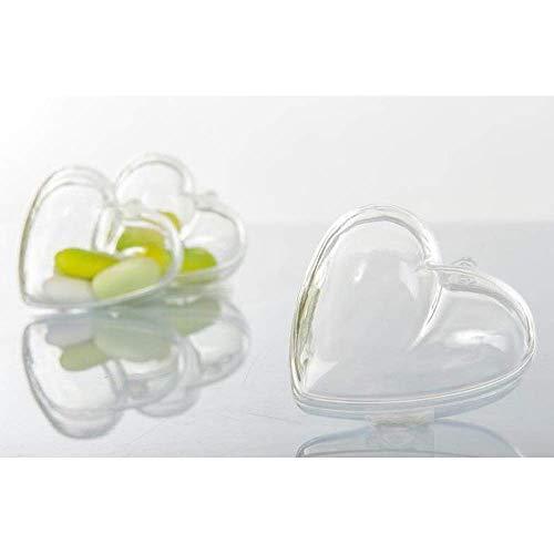 Publilancio srl 10 pz scatola in plexiglass a forma di cuore portaconfetti 6.5x6.2 cm