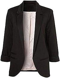 Blazer Mujer Verano Elegante Negocios Oficina De Solapa Chaqueta De Traje  Mode De Marca Color Sólido d6a3bd77e828