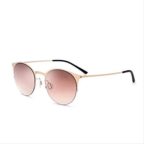 LKVNHP Runde Sonnenbrille Männer Ultralight Mode Damen -Marken -Entwerfer -Weinlese -Female Driving Damen -Sonnenbrillen TitanlegierungBrown