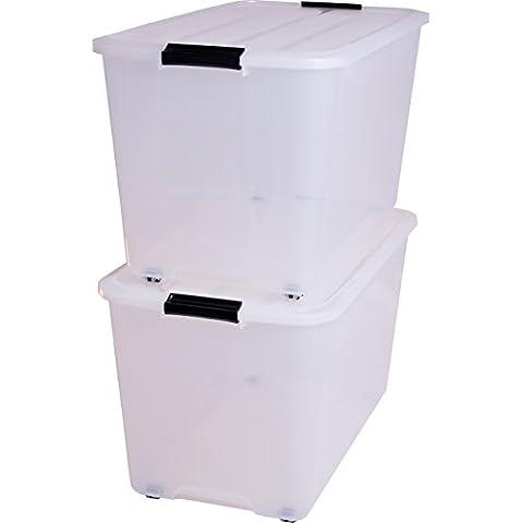 Iris 101.360,0 Juego de 2 cajas con tiendas y ruedas, 70 L, Sistema de Orden, la cama, apilables, caja de plástico, TBR-70,