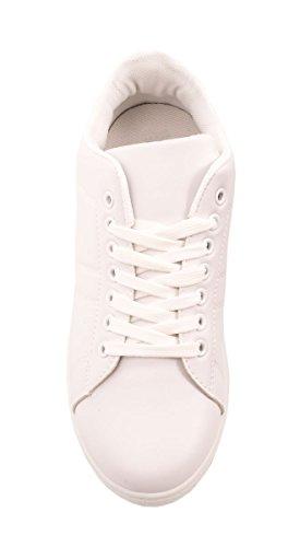 Elara Trendige Unisex Sneaker |Damen Kult Sport Laufschuhe | Turnschuhe Weiss / Silber