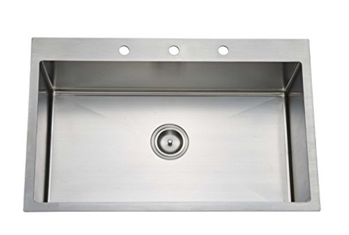 Starstar 33 X 22 Top-mount Single Bowl Kitchen Sink Drop-in 304 Stainless Steel 16 Gauge by Starstar - Kitchen Gauge Sink Single 16 Bowl