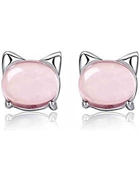 Lulu 's Jewelry 925Sterling Silber High Grade pink Opale Katze Ohrringe