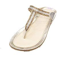 99235a7a447819 W W Women Ladies Evening Fashion Sandal Slip On Comfort Lightweight Flat  Diamante Shoes Size(Wish