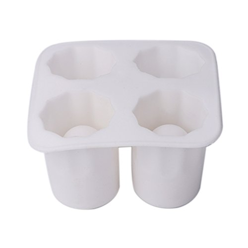 4Cup Ice Cube Shot Form Silikon Shooters Glas Freeze Form Schöpfern Tablett Party, weiß, 10x5.5cm Cube Shot Glas