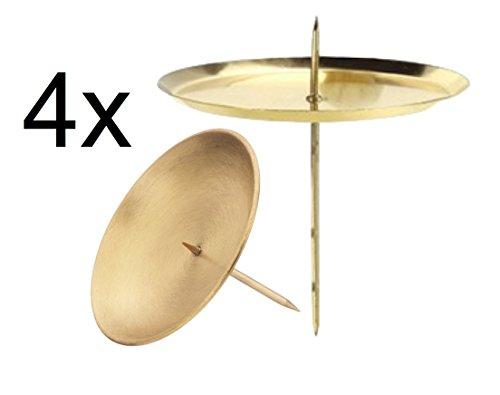 4x Kerzenhalter Kerzenteller Adventskranzstecker 6 cm Kerzenstecker für Adventskranz Weihnachten Adventskranzhalter mit Dorn ( (4x gold)