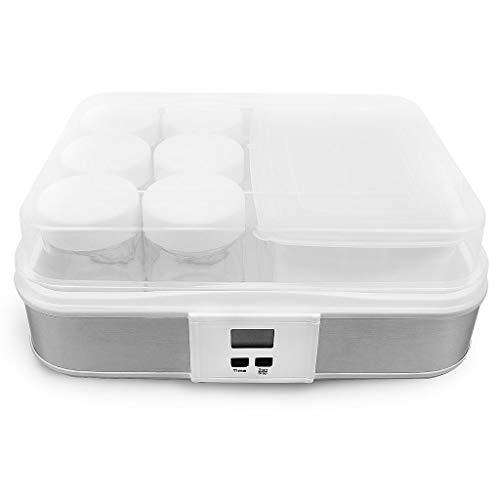 Todeco - Yogurtera, Maquina para Hacer Yogur Casero - Capacidad por frasco: 0,21 L - Potencia: 21,5 W - tazón de yogur con colador y 6 tazas, con temporizador, 30,6 x 25 x 12,4 cm, Blanco