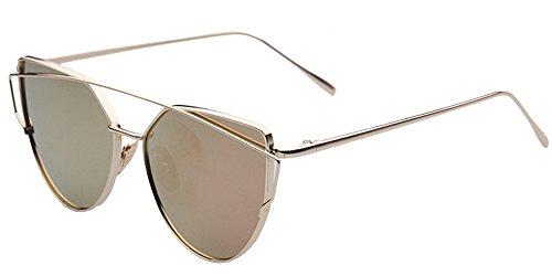 BOZEVON Damen-Sonnenbrille kühle Art- und Weiseklassische Luxuxmetallrahmen-Katzenaugen-Spiegel-Gläser Gold-Rosa