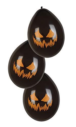 costumebakery - Halloween Dekoration Deko - 6 ungefüllte Latex Ballons Luftballons mit feurigem lodernden Flammen Kürbis Gesicht, 25cm, unfilled Balloons Creepy Pumpkin Fire Face, ideal für jede Halloween Party / Feier, Schwarz