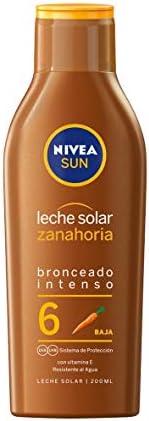 NIVEA SUN Leche Solar Zanahoria FP 6 (1 x 200 ml), protección solar para un bronceado bonito y duradero, prote