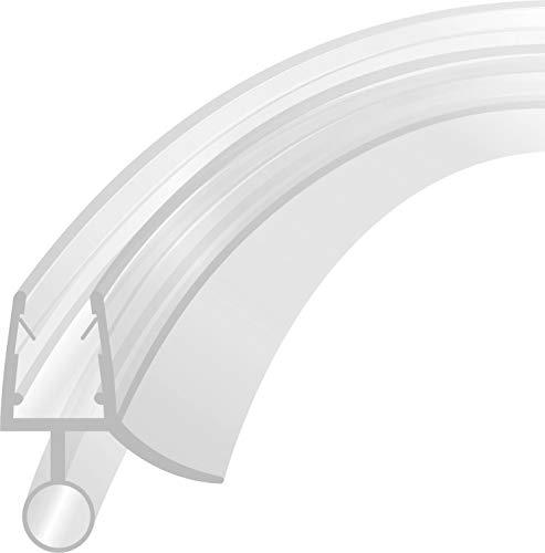 Duschdichtung Schwallschutz Runddusche Ersatzdichtung Wasserabweiser Streifdichtung Viertelkreis gebogen 1m für eine Glassträrke von 4-8 mm