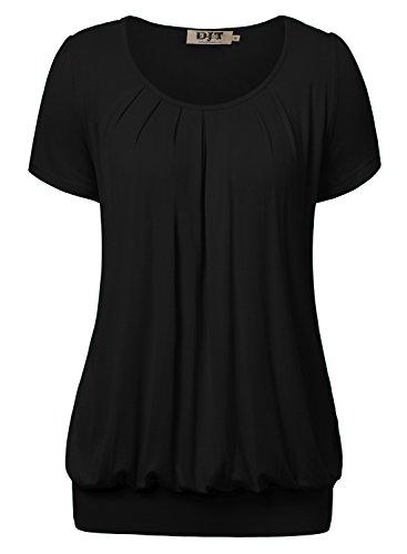 DJT Damen Casual Falten Kurzarm T-Shirt mit Stretch Rundkragen Schwarz XL