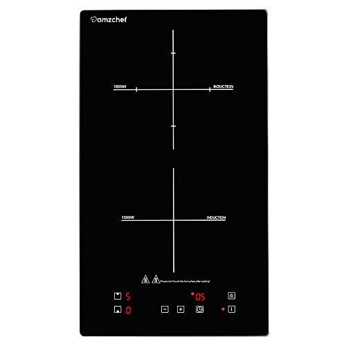 Domino doppel induktionskochplatte,Amzchef induktionskochfeld mit schwarz polierter Kristallglasoberfläche,Sensor-Touch-Steuerung und Kinder lock,10 Leistungsstufen und timer-Einstellung 3300W