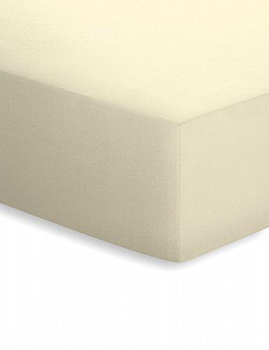 Spannbetttuch Elasthan-Edeljersey Größe: 140-160 cm B x 200-220 cm T, Farbe: Ecru