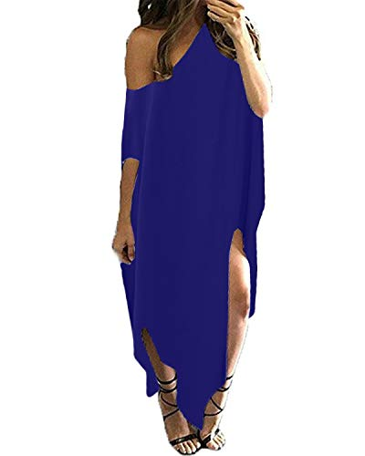 Kidsform Maxi Kleid Damen Sommer Blumen EIN Schulter Kleid Kurzarm Lose Lange Strandkleid EU 46/Etikettgröße XL Blau - Kleid Lose Sexy