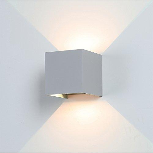 Preisvergleich Produktbild K-Bright 7W Aussenleuchte,3000K Warmweiß Aussenlampe Wandleuchte 3.9X3.9X3.9 Zoll Wandlampe aus Aluminium,grau
